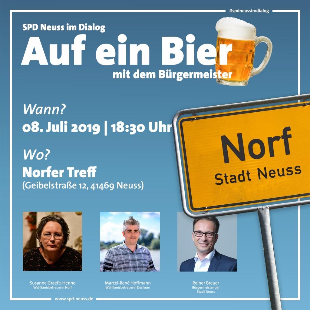 Auf ein Bier mit dem Bürgermeister in Norf